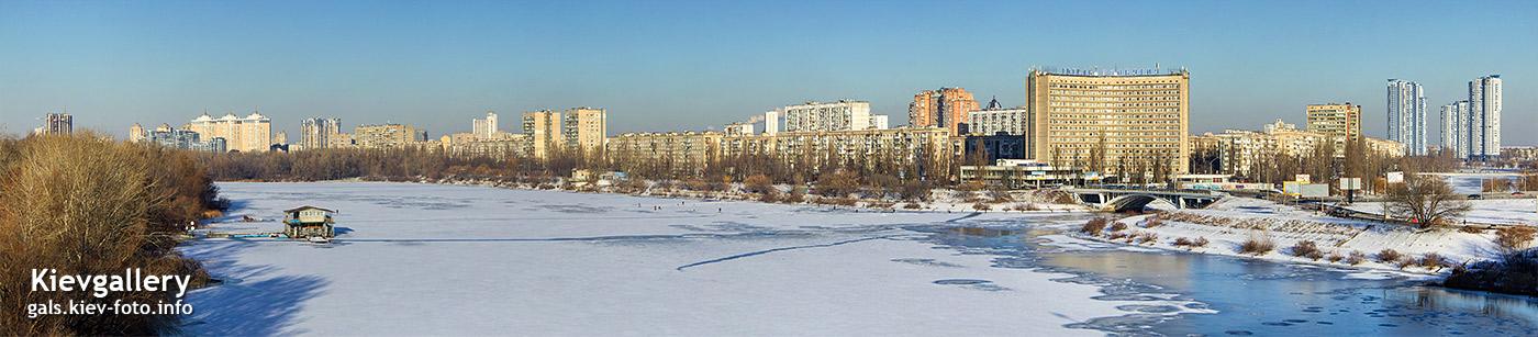 Панорама зимней Русановской набрежной. Panorama of winter Rusanivska quay