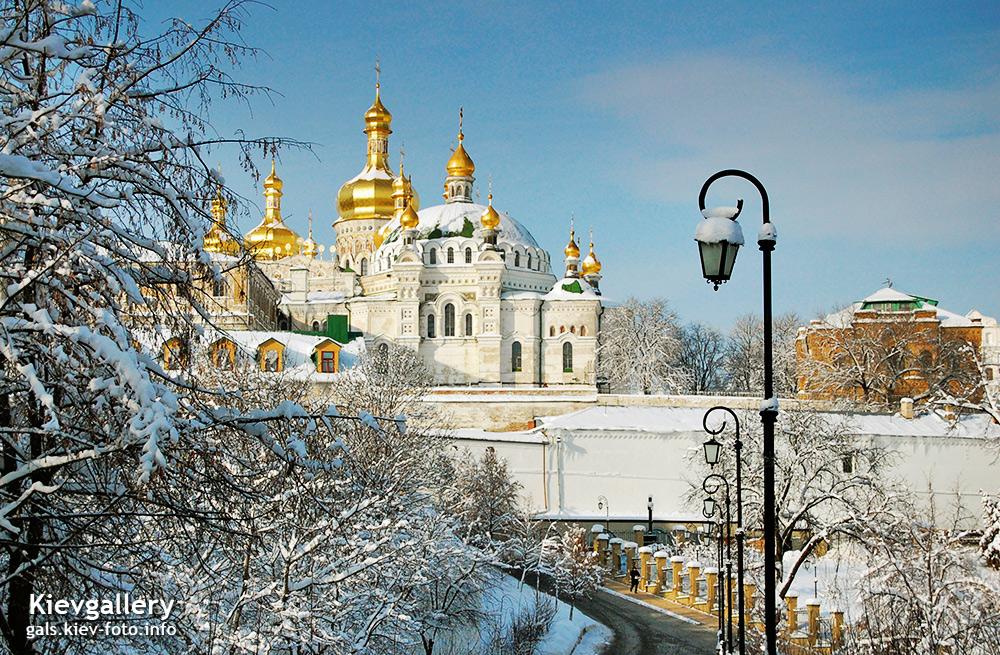 Зимний вид Киево-Печерской Лавры. Winter view of Kiev Pechersk Lavra