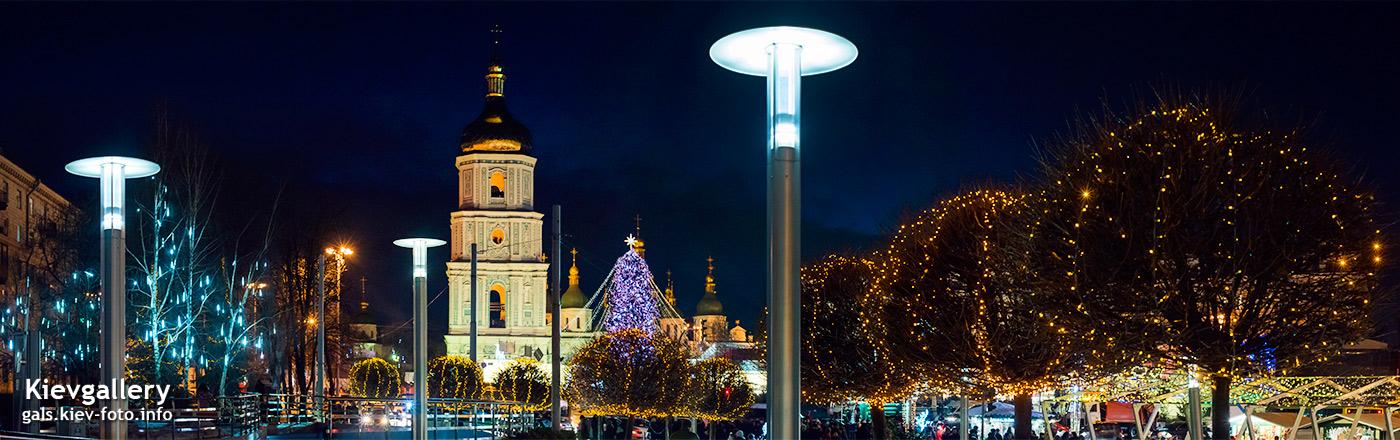 Главная новогодняя елка Киева 2018. панорама