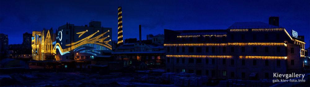 Праздничная иллюминация фабрики Рошен (Roshen)